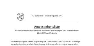 Corona-Anwesenheit für das zweite FCL-Heimspiel gegen TuRa Marienhafe.