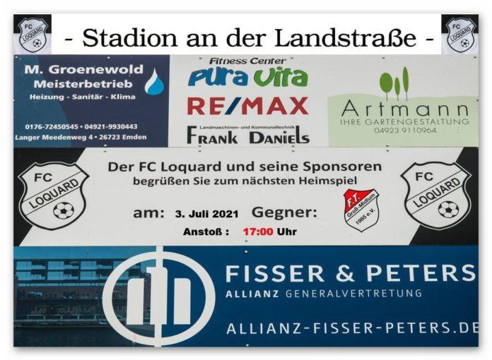 Am kommenden Samstag kommt es im heimischen Stadion an der Landstraße zum zweiten FCL-Testspiel in Vorbereitung auf die Spielzeit 2021/2022: Um 17:00 Uhr empfängt unser FCL die FT Groß-Midlum. FCL-Grafik: Reiner Poets